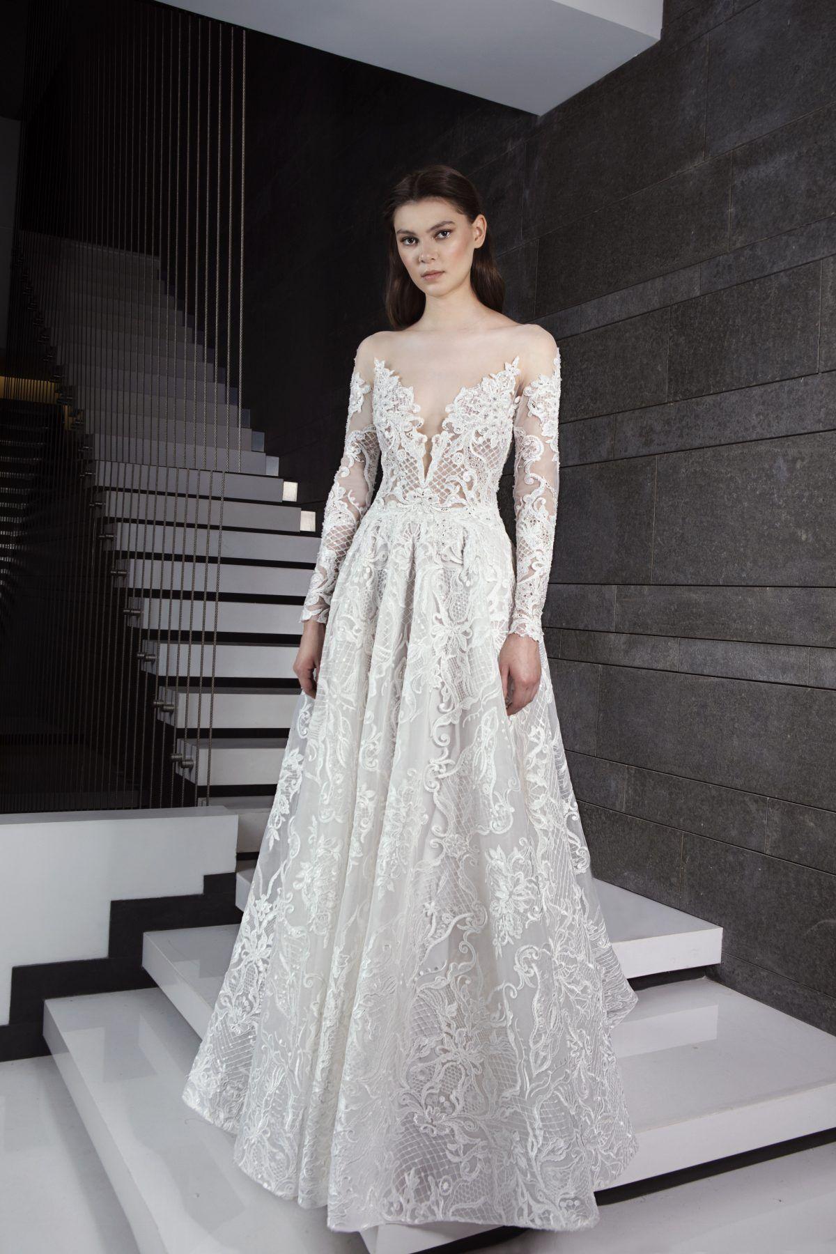 Long sleeve sweetheart neckline lace Aline wedding dress