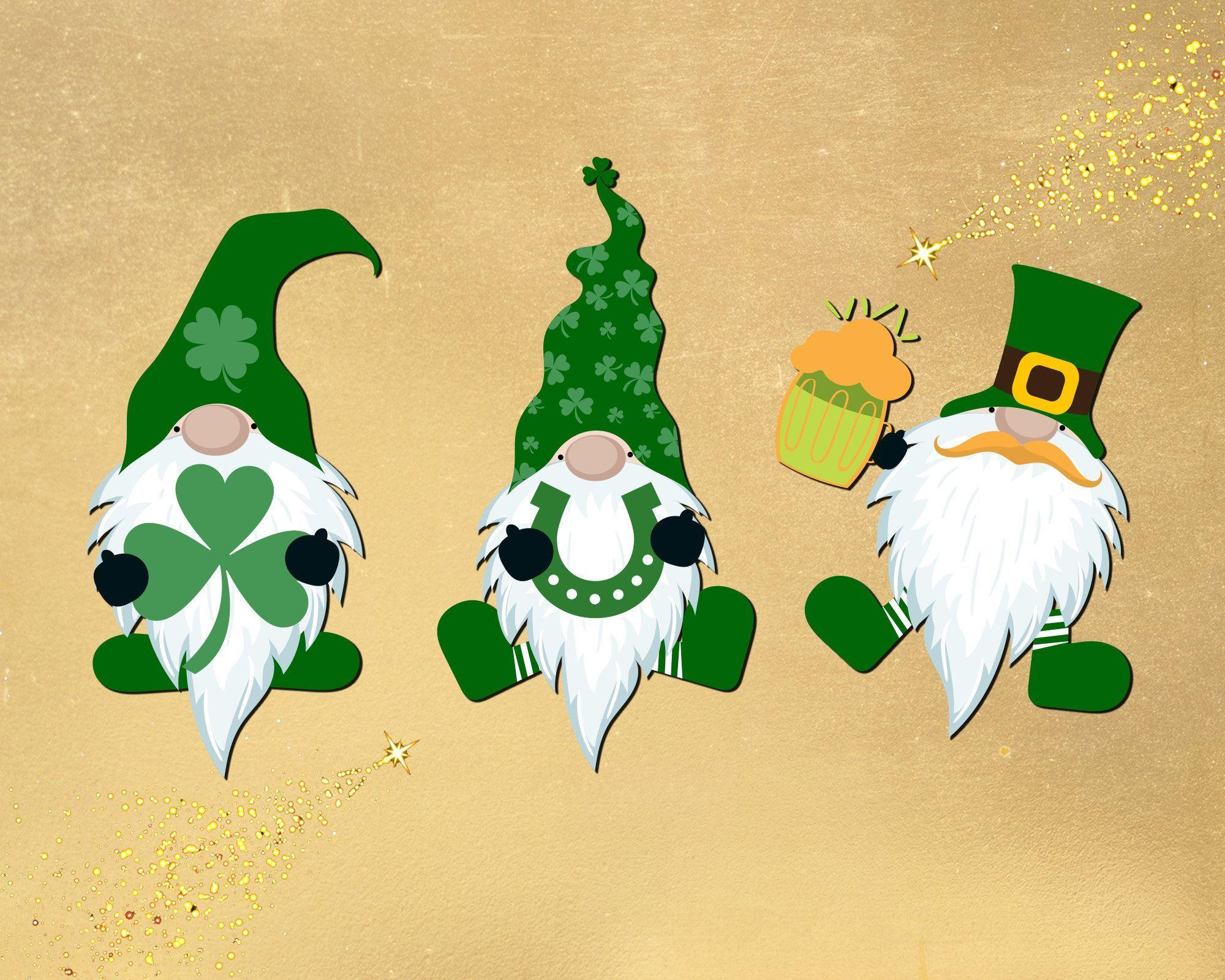 Clover SVG Gnomes SVG for Patrick day St Patricks Day print for t-shirt Gnome Shamrock SVG for cricut