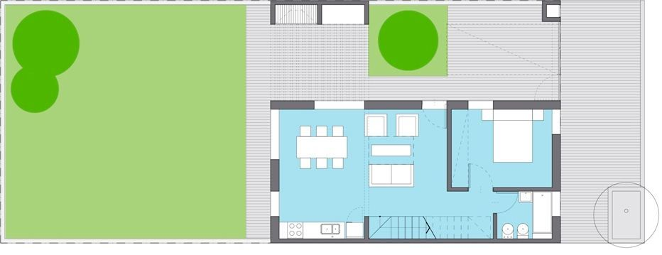 Plano de casa azucena plan procrear 2 dormitorios for Plan procrear viviendas
