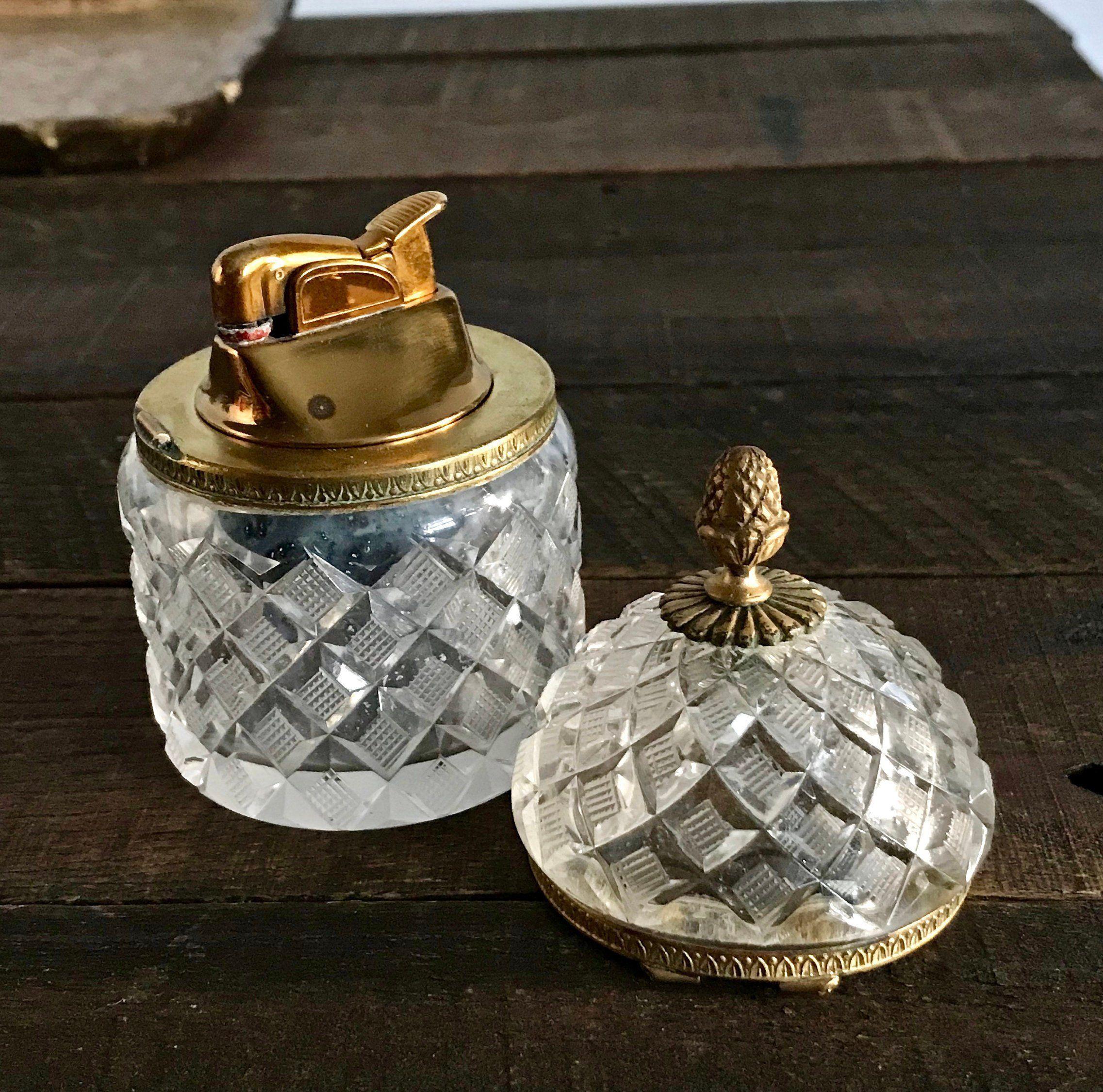Vintage French Crystal Table Lighter Antique Evans Lighter Light Table French Vintage Crystal Vase