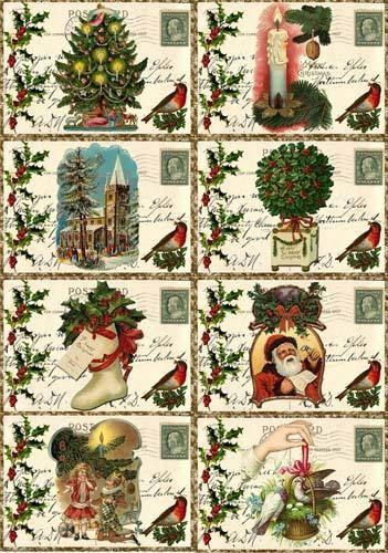 Christmas vintage Santa pictures on cards scrap booking crafts set  8