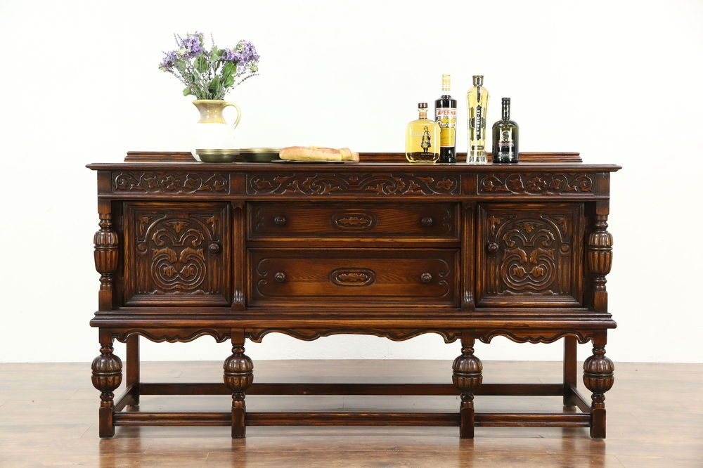 An English Tudor Design Solid Oak Sideboard Server Or Buffet
