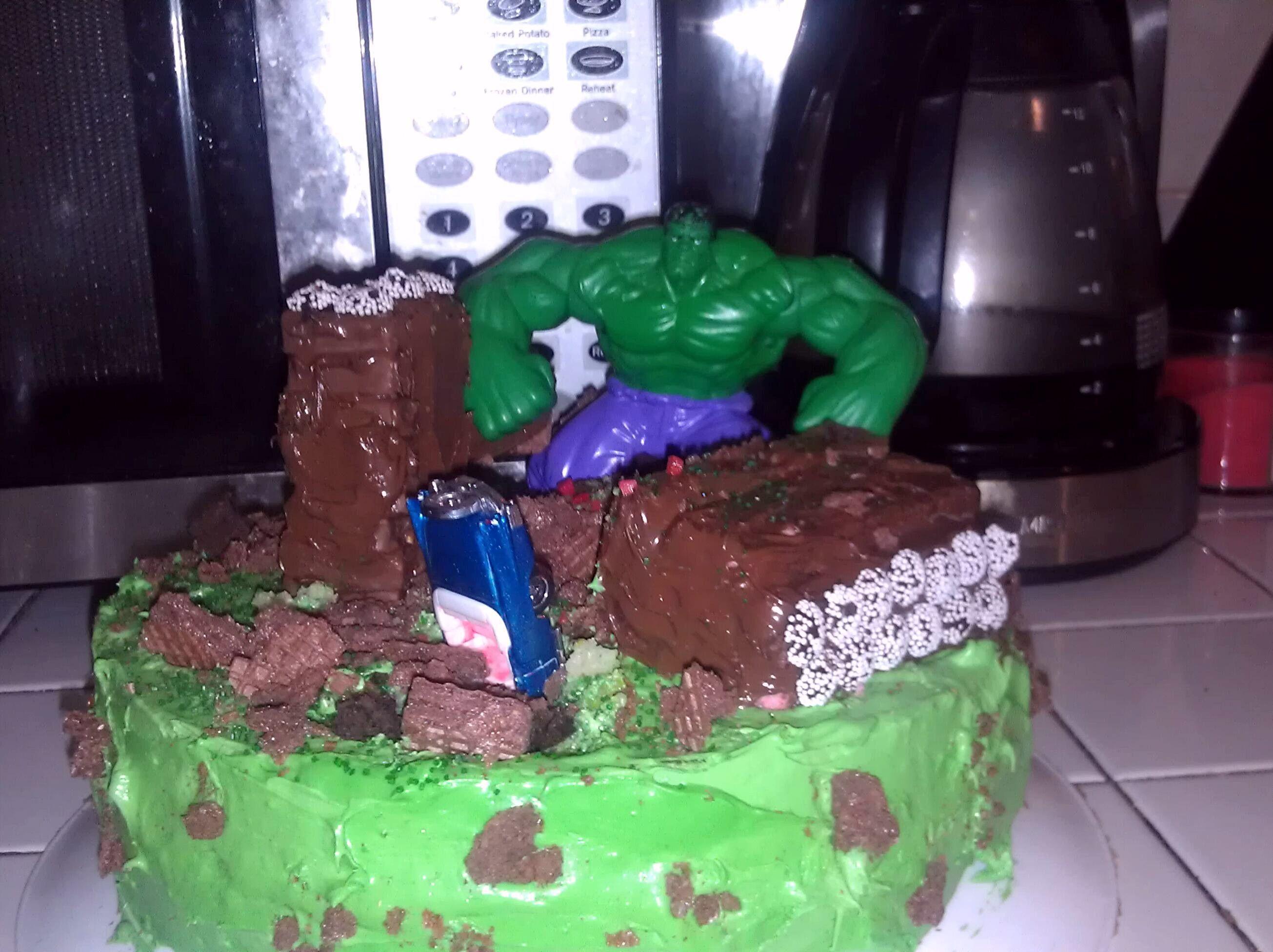incredible hulk smash birthday cake - My 5 yr olds hulk ...