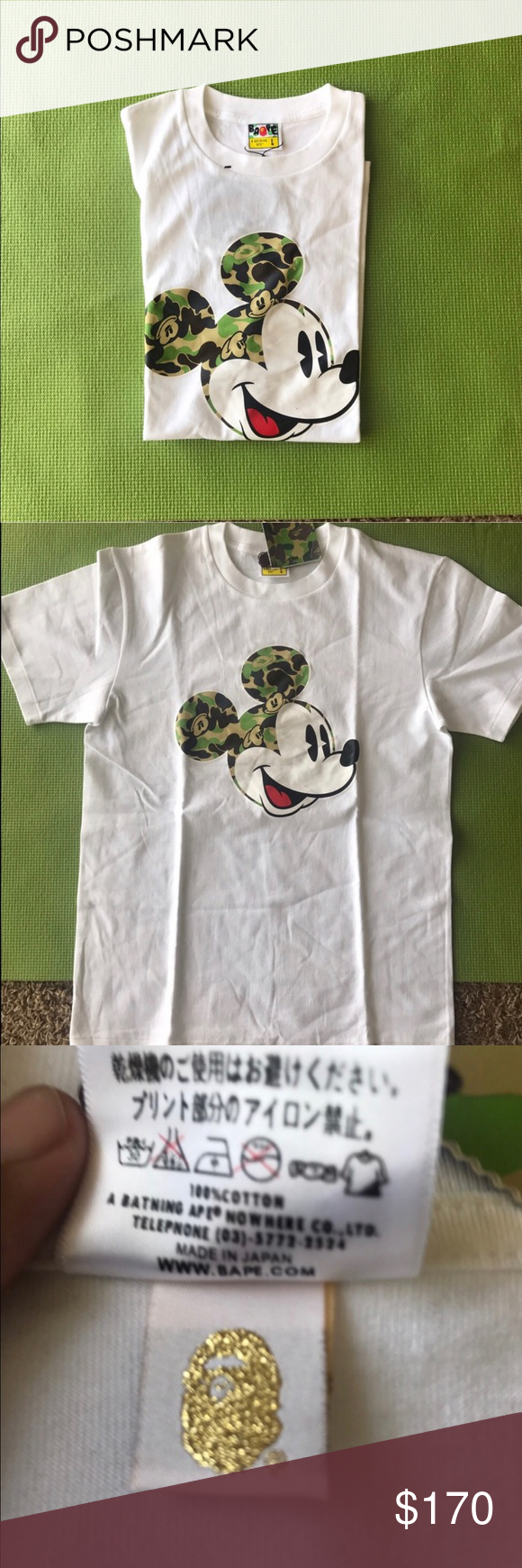 70b835fe BAPE x Mickey Mouse t AUTHENTIC grail bape Shirts Tees - Short Sleeve