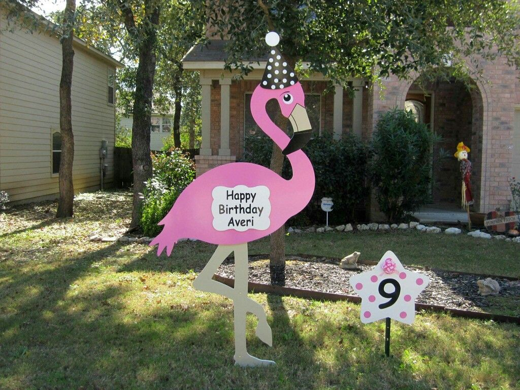 Fayetteville nc happy 9th birthday averi we have lots of fun we have lots of fun lawn greeting yard cards like this check out our flamingo signs and giant birthday lawn cupcake signs m4hsunfo