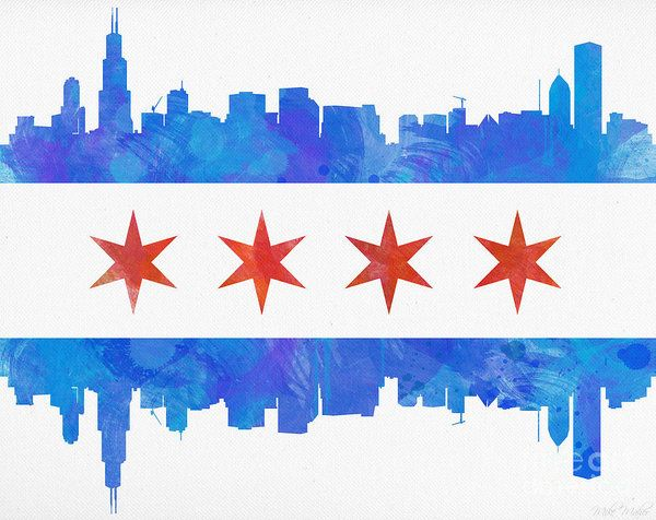 Chicago Flag Watercolor Art Print By Mike Maher Chicago Painting Chicago Skyline Art Chicago Art