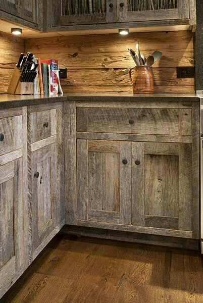 Rustic Kitchen Ideas On A Budget Google Search Barn Wood Cabinets Rustic Kitchen Design Rustic Kitchen