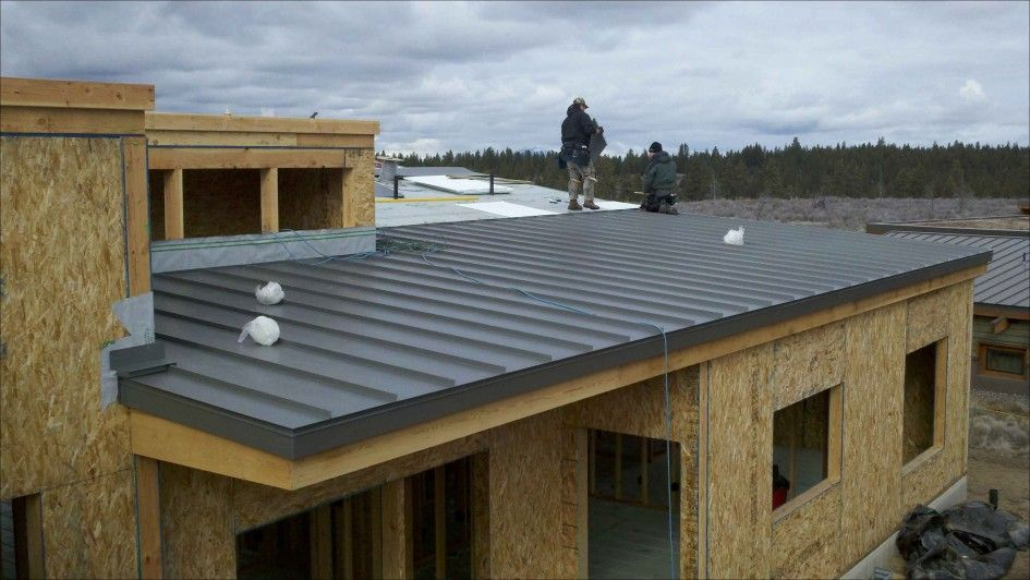Best Exterior Flat Metal Roof Designed In Dark Gray Color Applied In Contemporary Building With 640 x 480