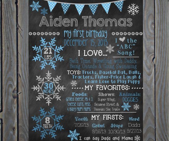 custom printable first birthday firsts and favorites poster board