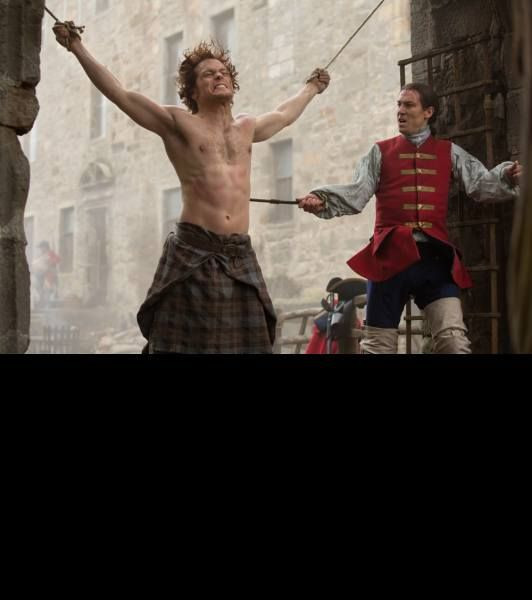 Sam Heughan as Jamie Fraser and Tobias Menzies as Black Jack Randall, who also plays Frank Randall Premier on Starz, Aug 2nd.