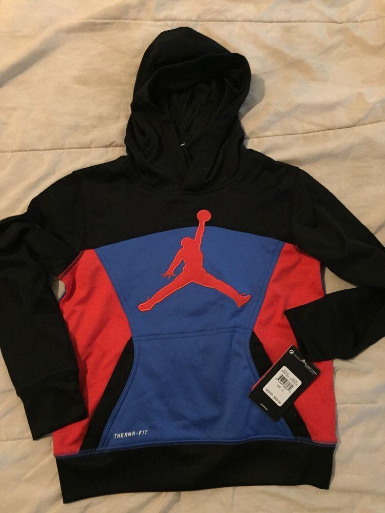 b32daff5d2cdce NIKE AIR JORDAN Boys ThermaFit Hoodie Sweatshirt Black Blue 952201 NWT  65  SMALL  fashion  clothing  shoes  accessories  kidsclothingshoesaccs ...