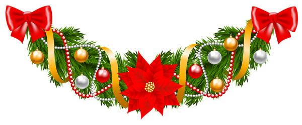Christmas Pine Deco Garland With Poinsettia Png Clipart Image Christmas Wreath Image Free Clip Art Merry Christmas Card Greetings