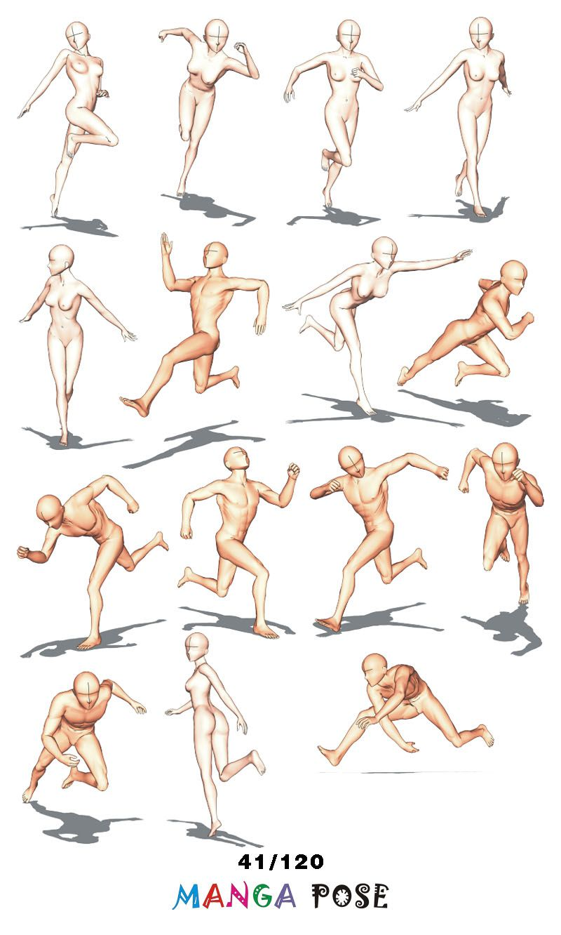 Tutorial Drawing Manga Pose Big Posebook For Manga Anime Character Running Poses Manga Poses Running Pose Drawing Poses