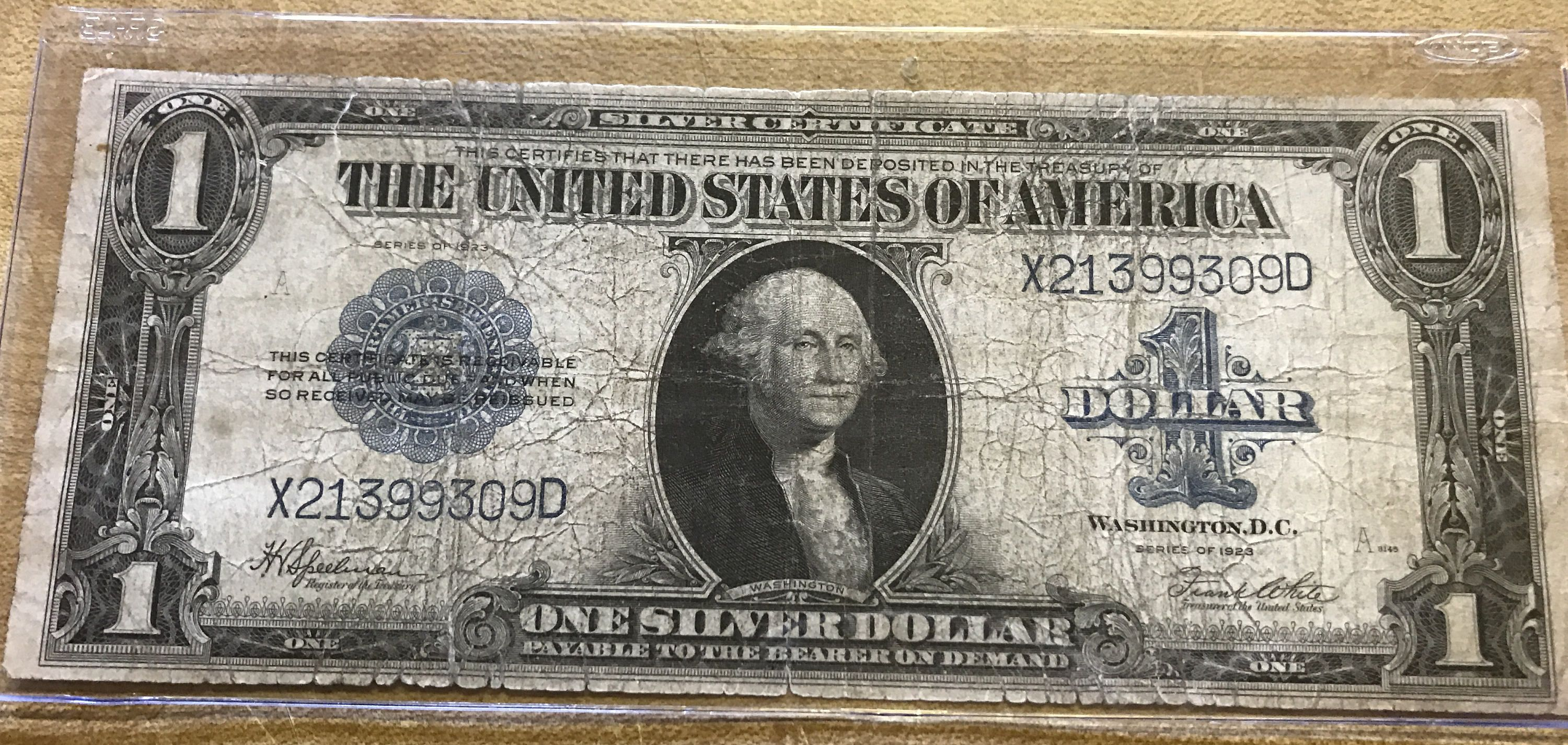 1923 Silver Certificate One Dollar Large Bill United States Currency