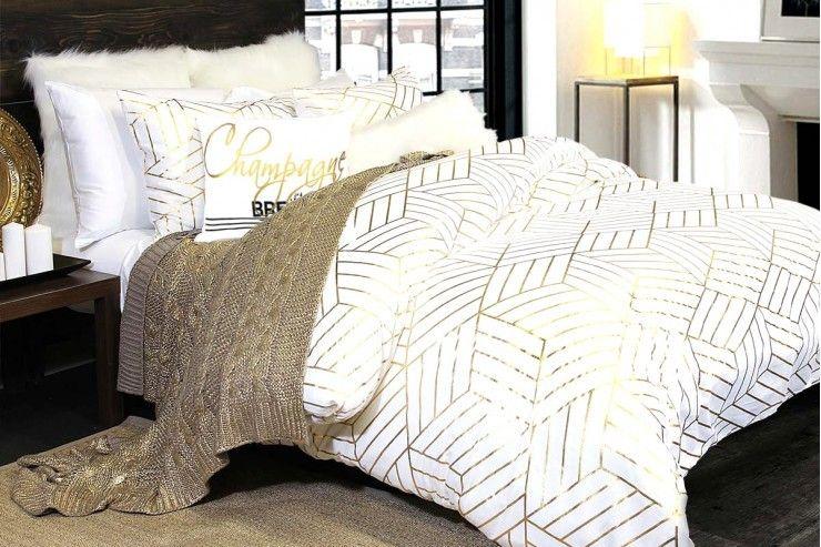 Housse De Couette Dans Les Tons De Blanc Et Or Duvet Covers Modern Duvet Covers Duvet