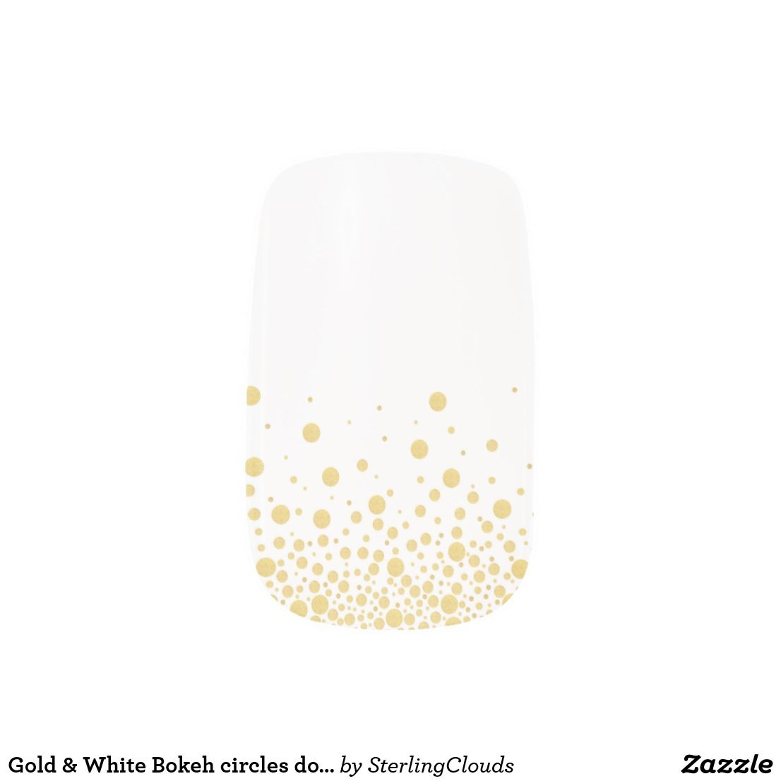 Gold & White Bokeh circles dots nails Minx Nail Wraps