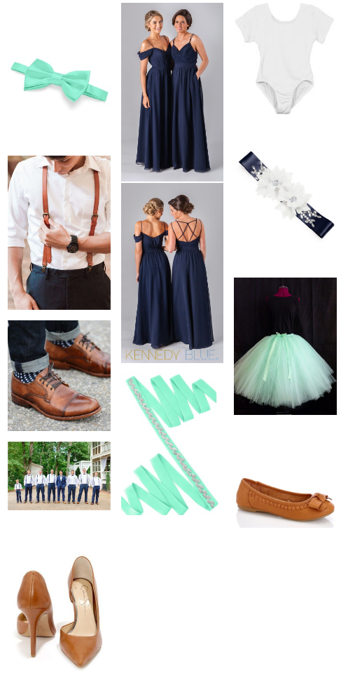 Mint, Navy, leather bridal party