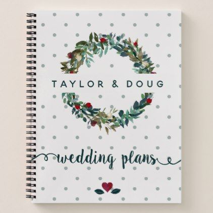 Wedding Plans Watercolor Winter Wedding Wreath Notebook  Romantic
