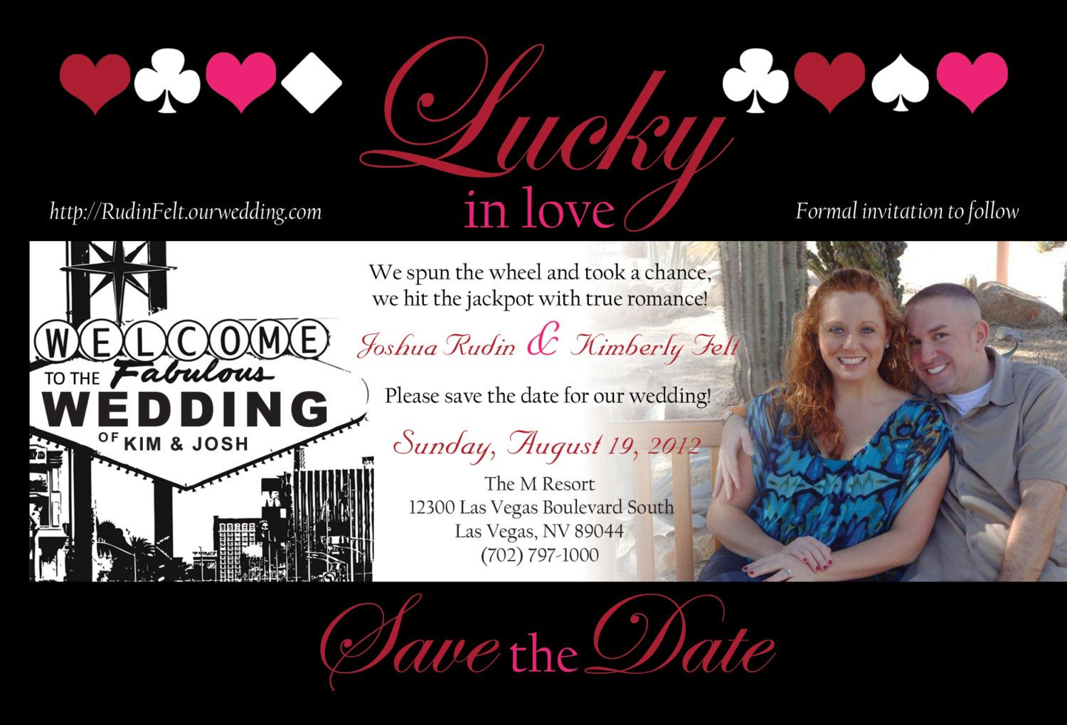 Las Vegas Themed Wedding Save the Date With by KMRCustomDesigns ...