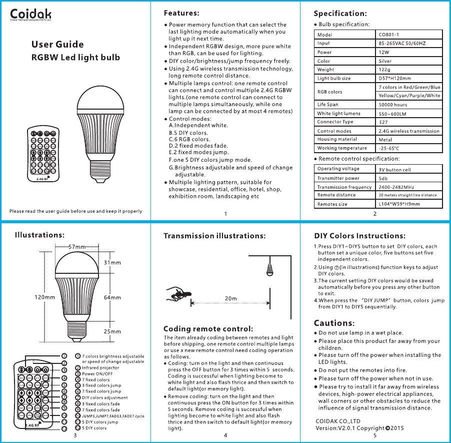 Coidak Rgb Bulb User Guide Bulb User Guide Led Light Bulb