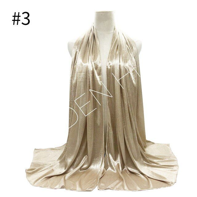 Photo of 1pc high quality silk like scarves scarf shinny women fashion embossed paisley muslim hijabs