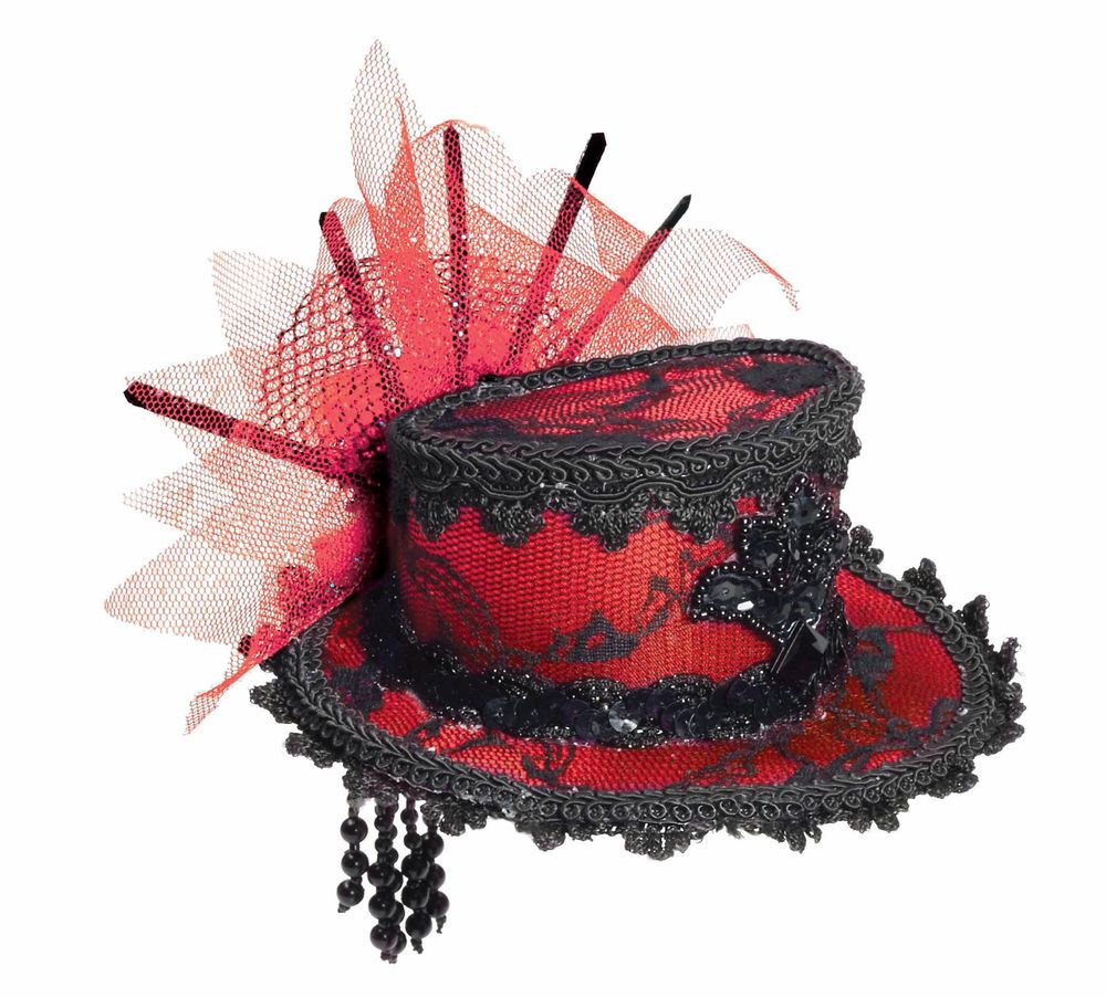 Purple Mini Victorian Top Hat with Hair Clips Steampunk Burlesque