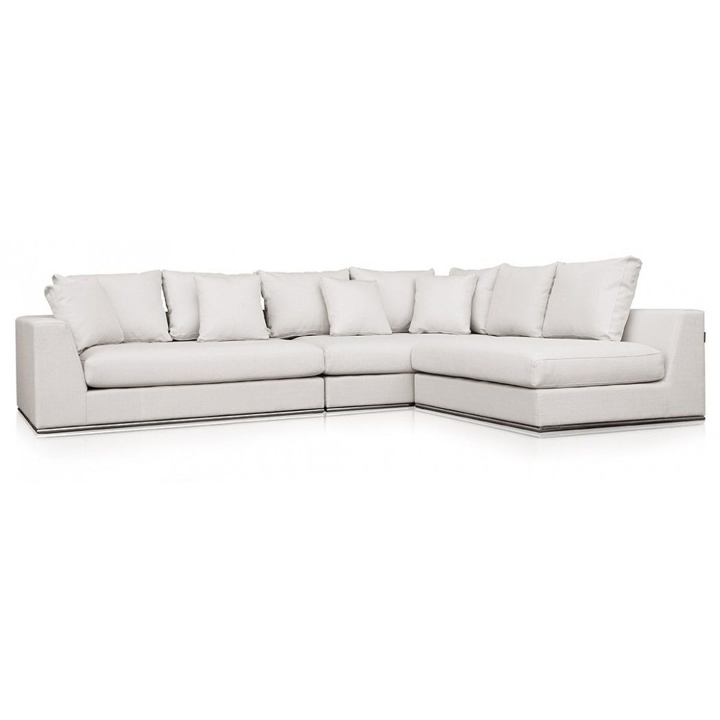 Bergamo Extended Sectional Leather Modern Sofa Grey Modani