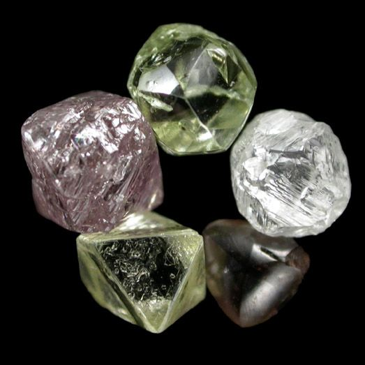 Diamond // Mineral Specimens: Diamond (set of five colored diamonds) from India, Australia, South Africa, Namibia