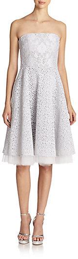 Badgley Mischka Mixed Lace A-Line Strapless Dress