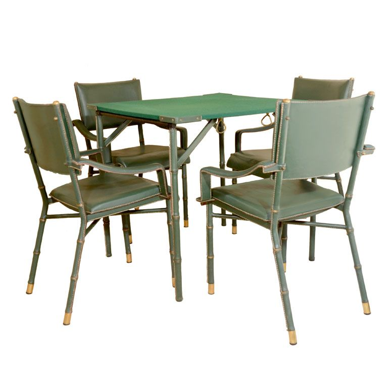 Rare Games Table And Chairs Jacques Adnet French 1950s 1stdibs