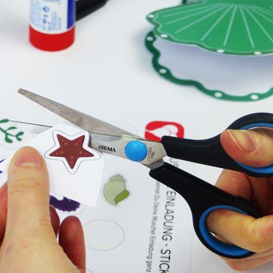 Muschel Einladung Mit Stickern Mit Dieser Druckvorlage Kannst Du Eine  Hübsche Muschel Karte Basteln