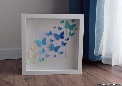 bilderrahmen mit schmetterlingen butterflies in an ikea frame butterfly diy ikea frames. Black Bedroom Furniture Sets. Home Design Ideas