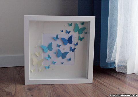bilderrahmen mit schmetterlingen butterflies in an ikea frame butterfly diy pinterest. Black Bedroom Furniture Sets. Home Design Ideas