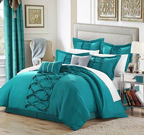 Ruthie 12 Piece Brushed Microfiber Comforter Set Queen Turquoise Sheet Set Shams Decorative Pillows B Bedroom Turquoise Comforter Sets Bedroom Sets Queen