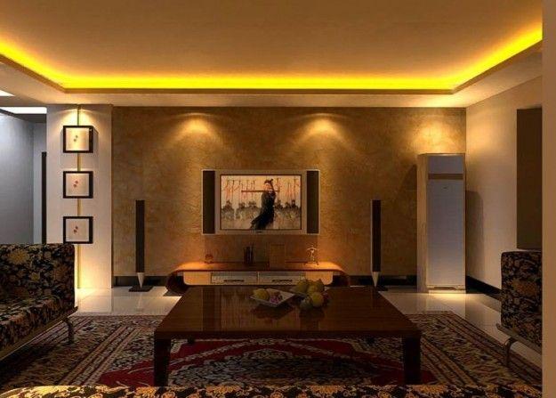 un salone illuminato con una striscia led a luce calda