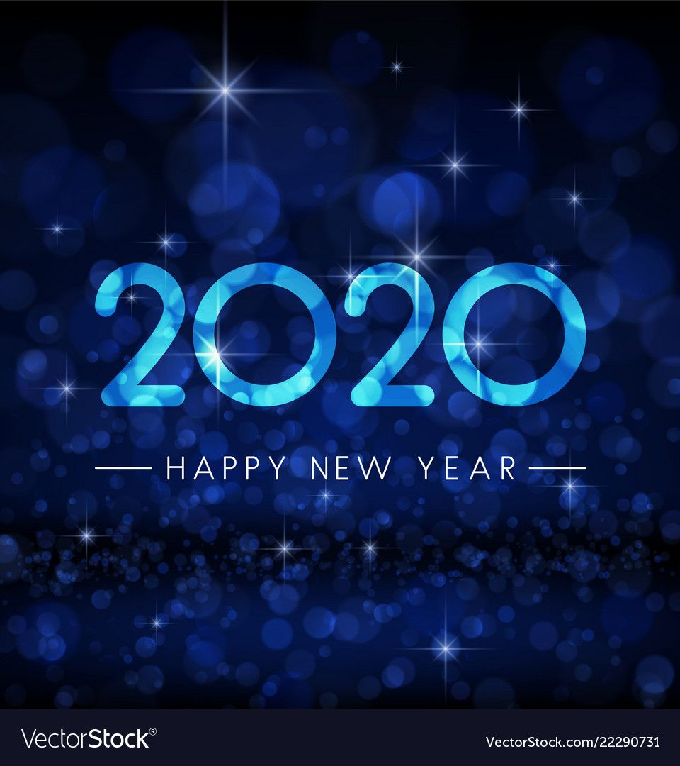 Blue shiny bokeh 2020 happy new year greeting card vector