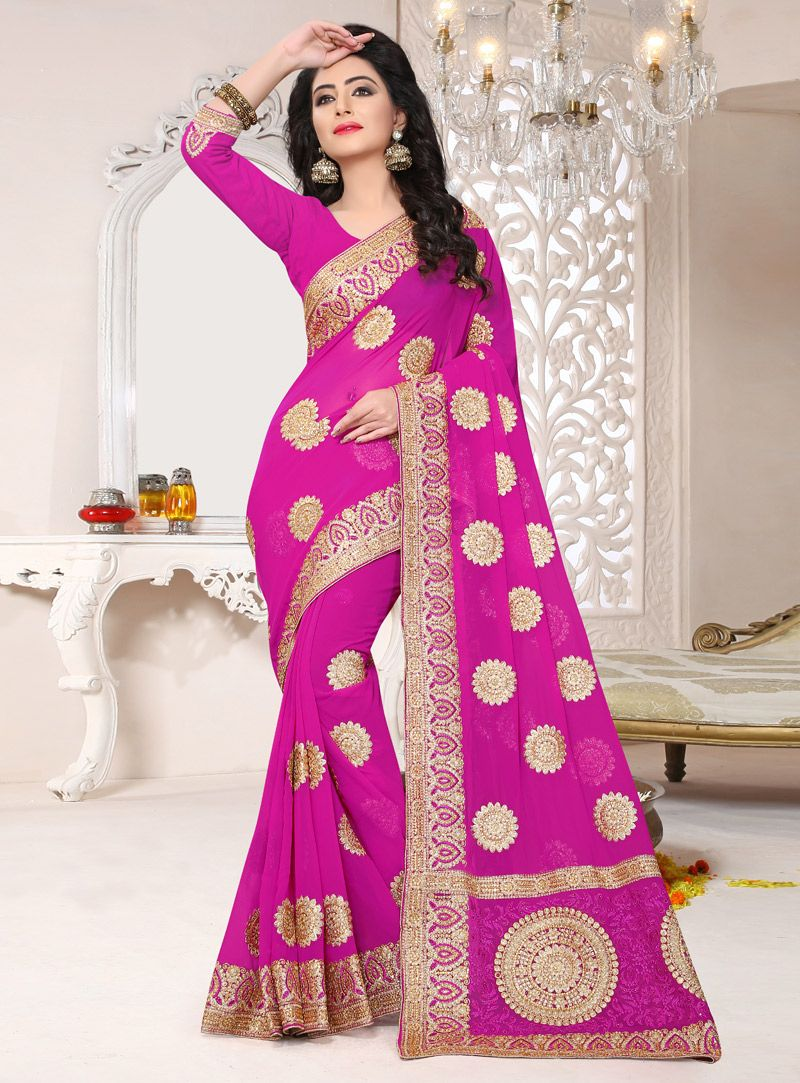 a8839205552ec Magenta Georgette Saree With Blouse 124739