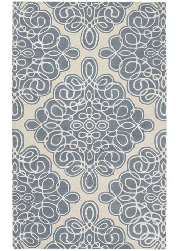Candice Olson Modern Classics Damask Gray Blue Hand Tufted Wool Rug @House Beautiful June 2011