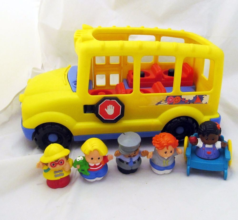 Fisher-Price Little People Yellow School Bus Wheel Chair Figure ...