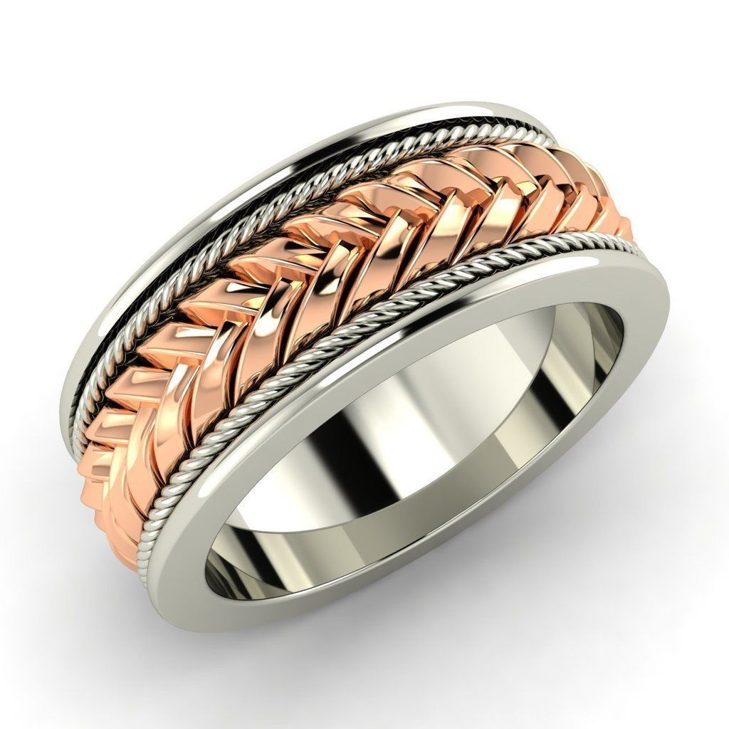 Certified Braided 18k White Gold Men's Engagement