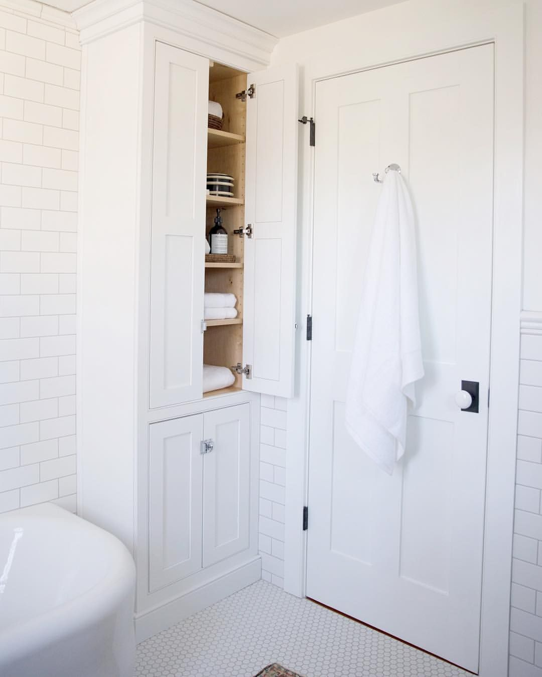 Making Every Inch Count We Designed This Floor To Ceiling Linen Cabinet To Sit In The E Bathroom Cabinets Designs Inexpensive Bathroom Remodel Small Bathroom