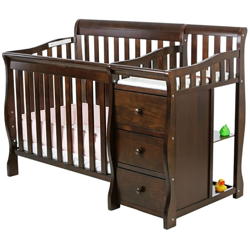 Dream On Me Jayden 2 In 1 Convertible With Changer Espresso Baby Cribs Convertible Portable Crib Crib And Changing Table Combo