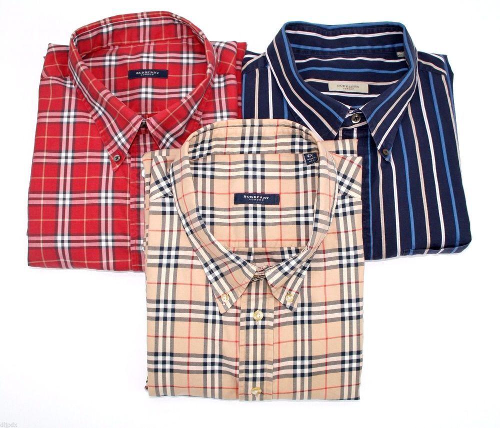Burberry London lot of 3 shirts nova check haymarket plaid striped 4XL  XXXXL USA  BurberryLondon  ButtonFront e9f405070d6