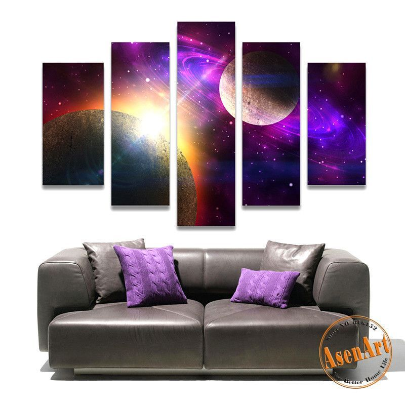 Attractive 5 Panel Canvas Art Fantastic Star Painting Outer Space Painting For Living  Room Wall Decor Canvas Great Ideas