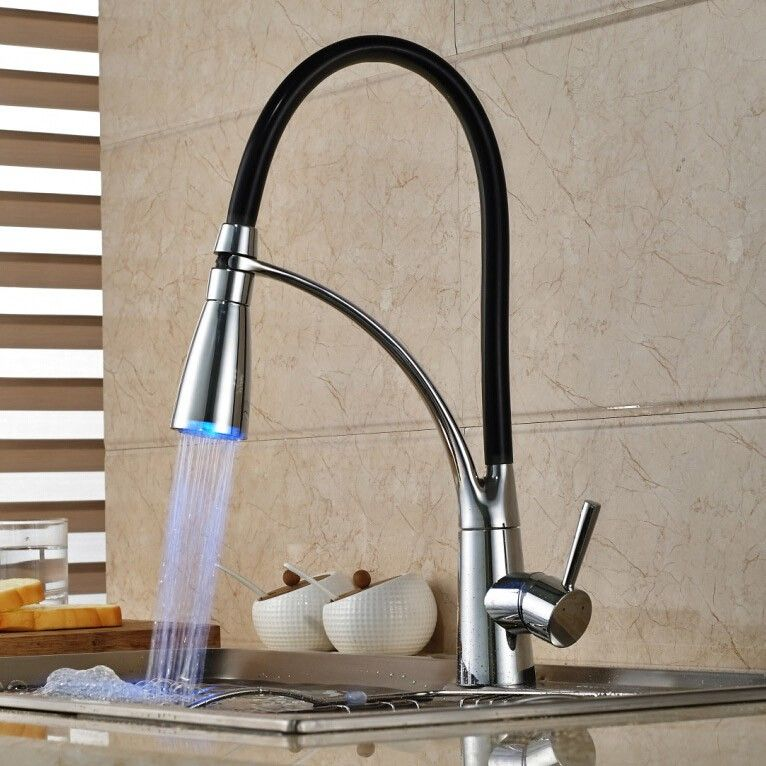 Single Handle LED Kitchen Faucet with Pullout Sprayer Chrome ...