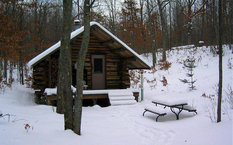 Michigan log cabin. Perfect.