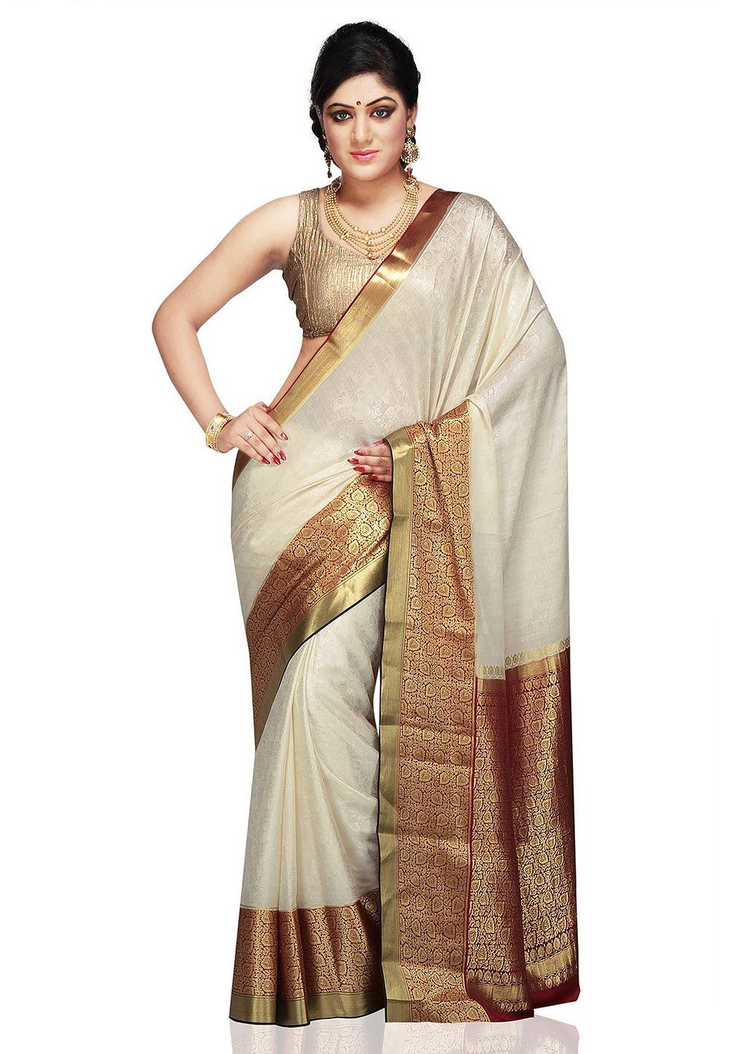 28bbabf2af9dff Utsav Fashion Women s Off White and Maroon Pure Mysore Silk Saree with  Blouse  Amazon