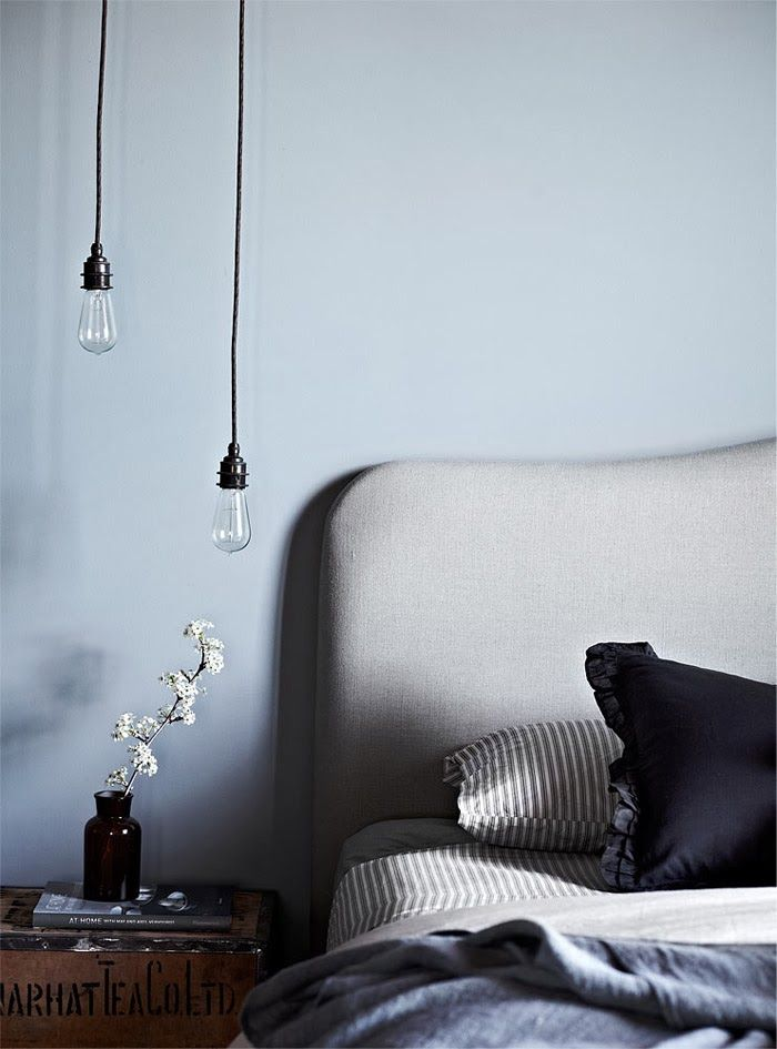 Beautiful Bedroom In Soft Blue And Grey Tones Love The Vintage Crate Bedside Table Bare Bulb Pendant Lighting