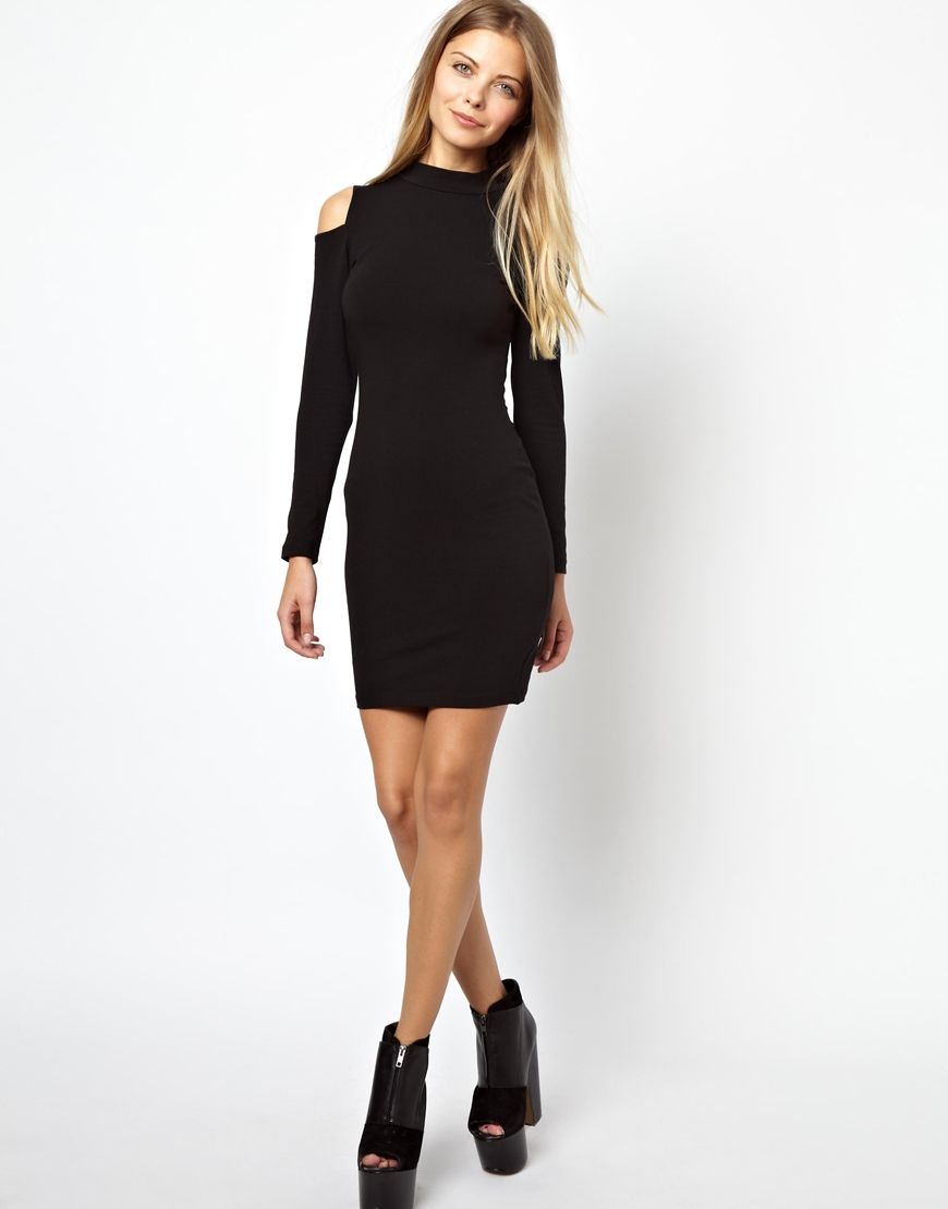 Petite Black Bodycon Dress High Neck Cold Shoulder