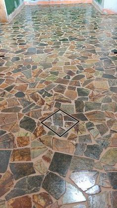 Terracotta Broken Tile Front Porch Design Google Search Mosaic Flooring Stone Mosaic Floor Mosaic Floor Tile